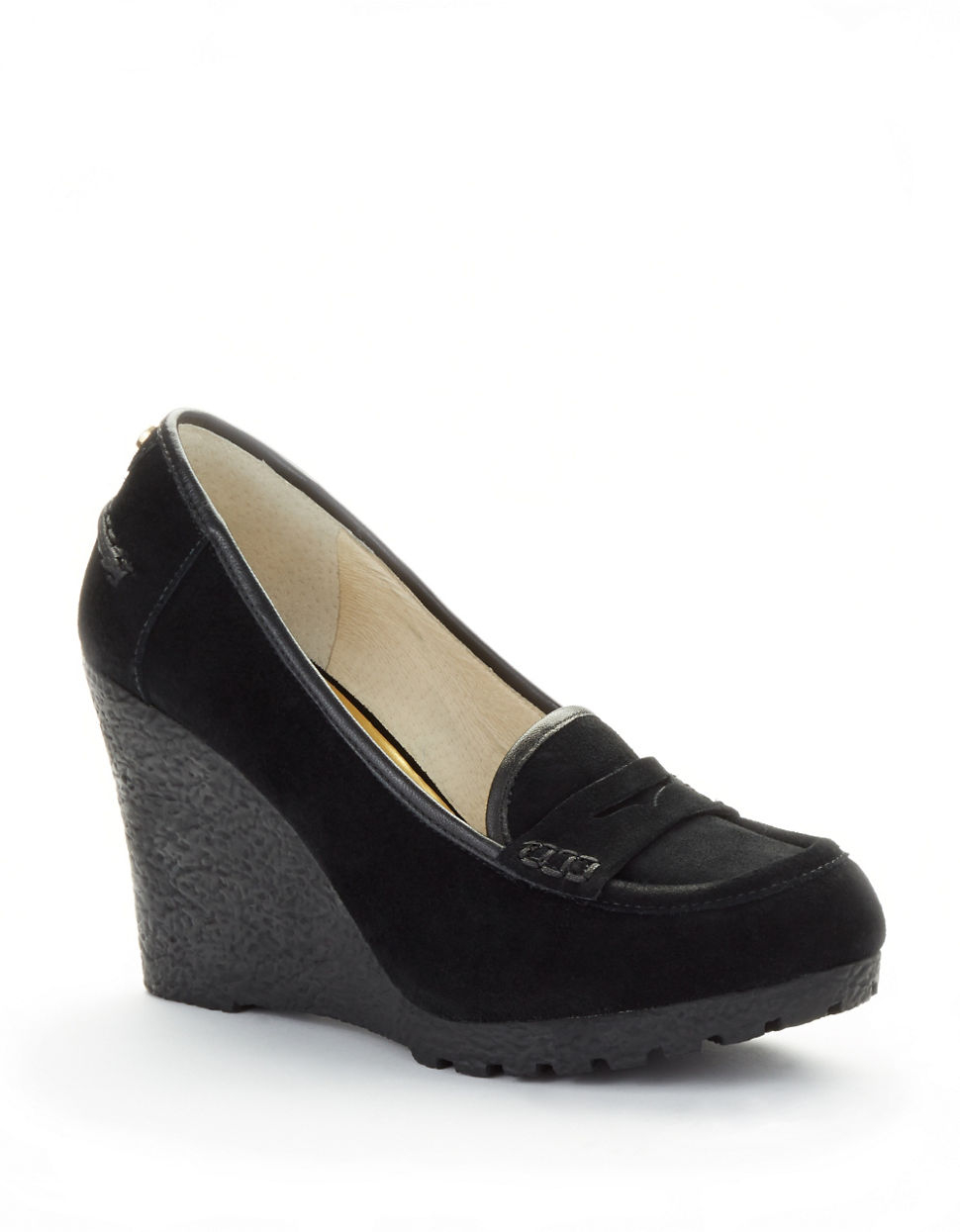 $ - Women's Shoes Cowhide Spring / Fall Comfort Loafers & Slip-Ons Wedge Heel Black / Red Shop for cheap Women's Slip-Ons & Loafers online? Buy at .