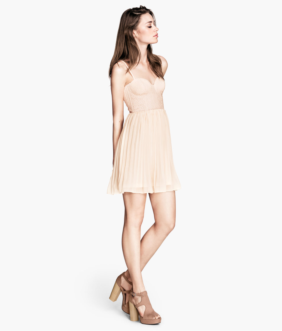 H&amp-m Bustier Dress in Pink - Lyst