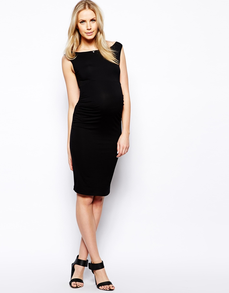 Asos Maternity Sleeveless Bardot Dress In Black Lyst