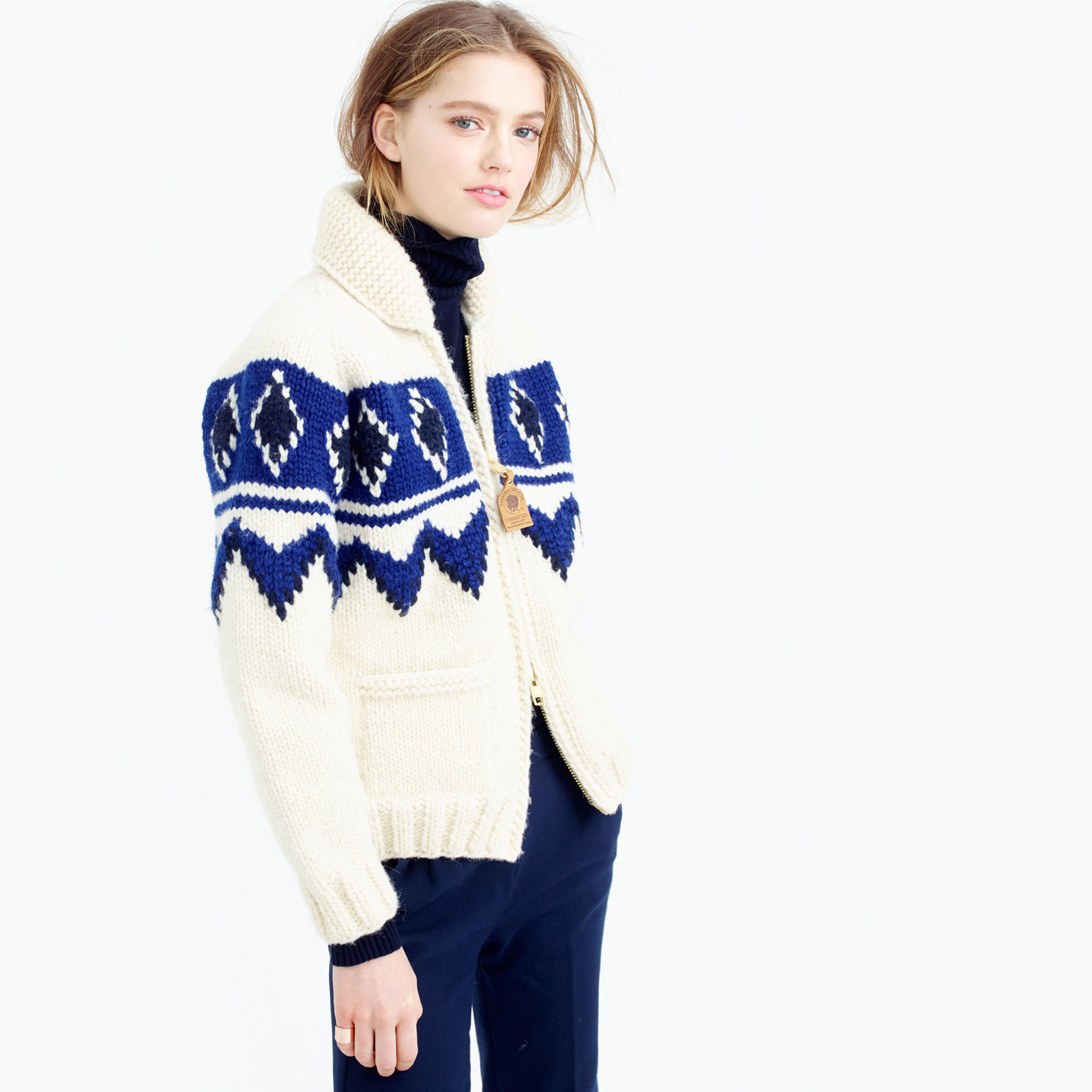 J.crew Canadian Sweater Company Colorblock Cardigan Sweater in ...