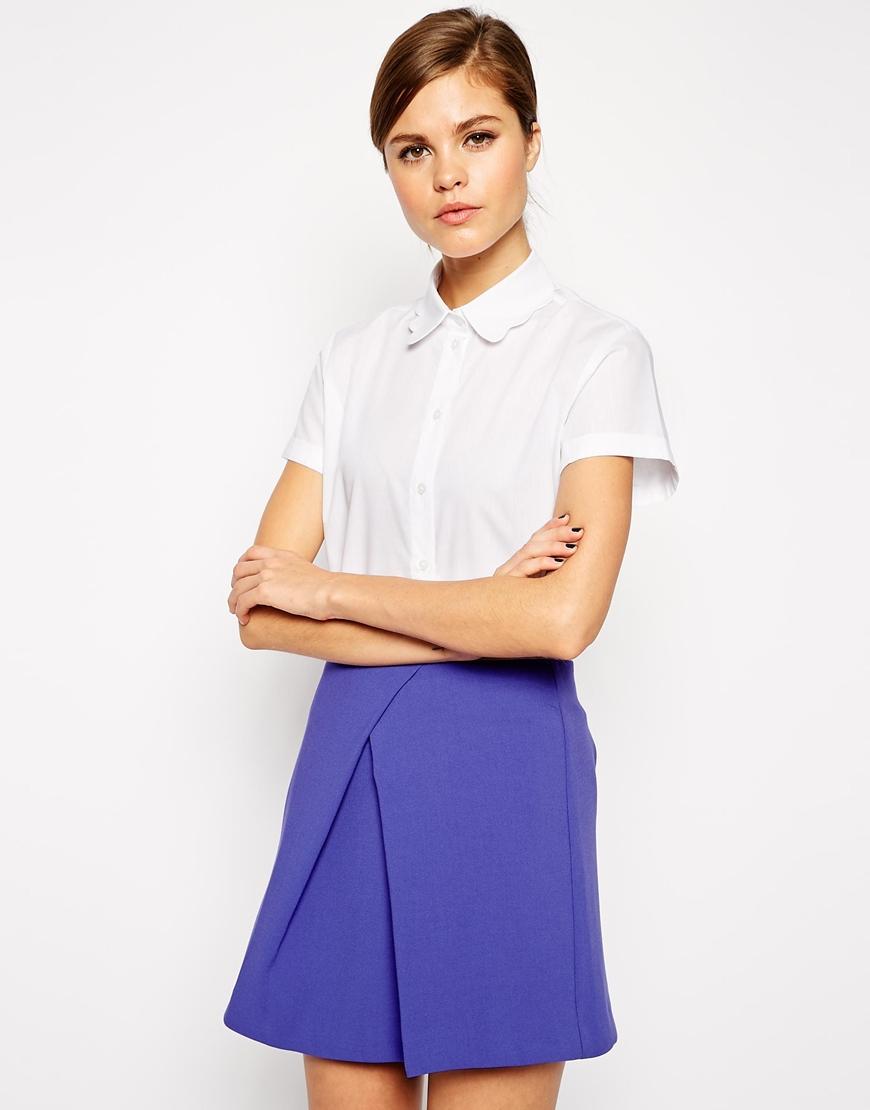 0ae08229dea7e Lyst - ASOS Boxy Shirt With Scallop Collar in White
