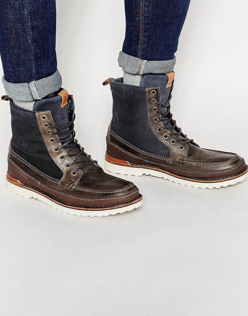 aldo olaudda leather boots in gray for lyst