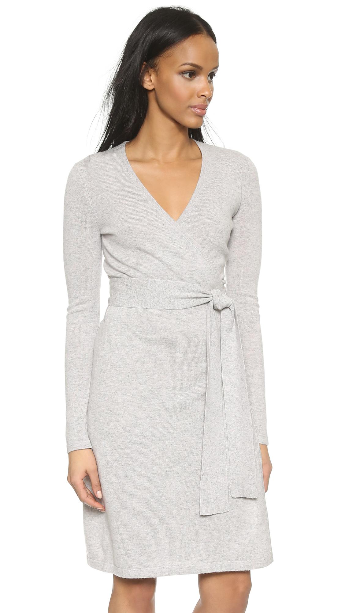 Diane von furstenberg Linda Wrap Sweater Dress - Grey in Gray | Lyst