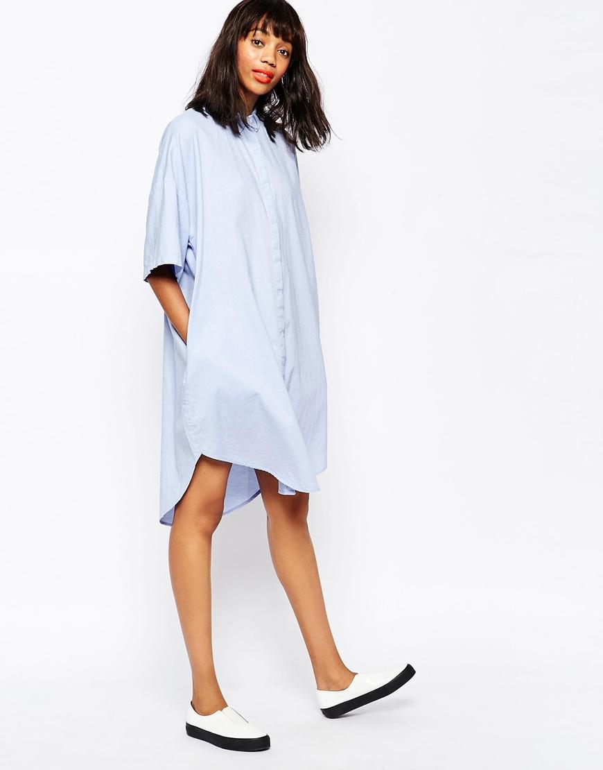 Monki white shirt dress