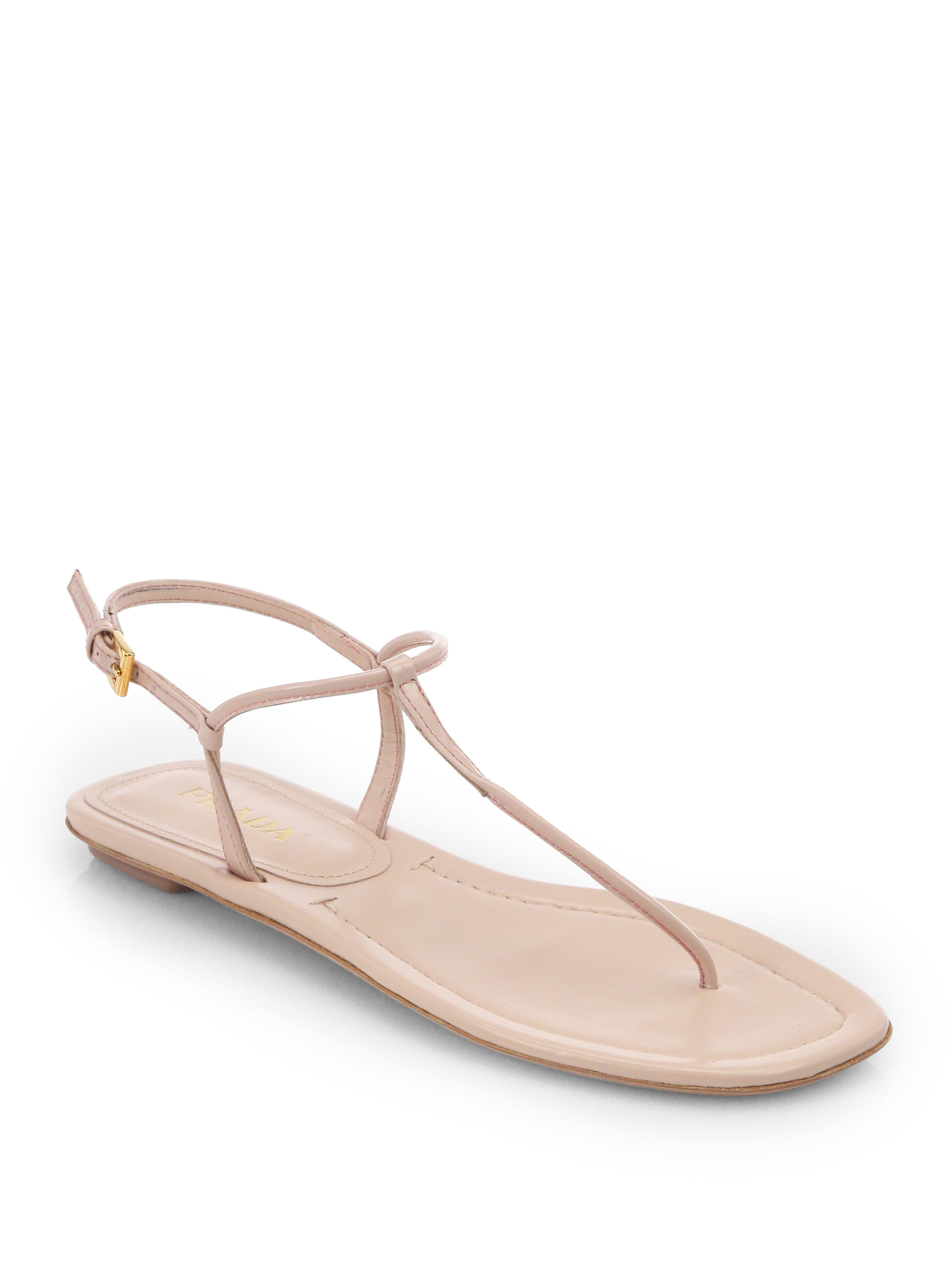 Lyst - Prada Patent Leather Thong Sandals in Pink cb066b532
