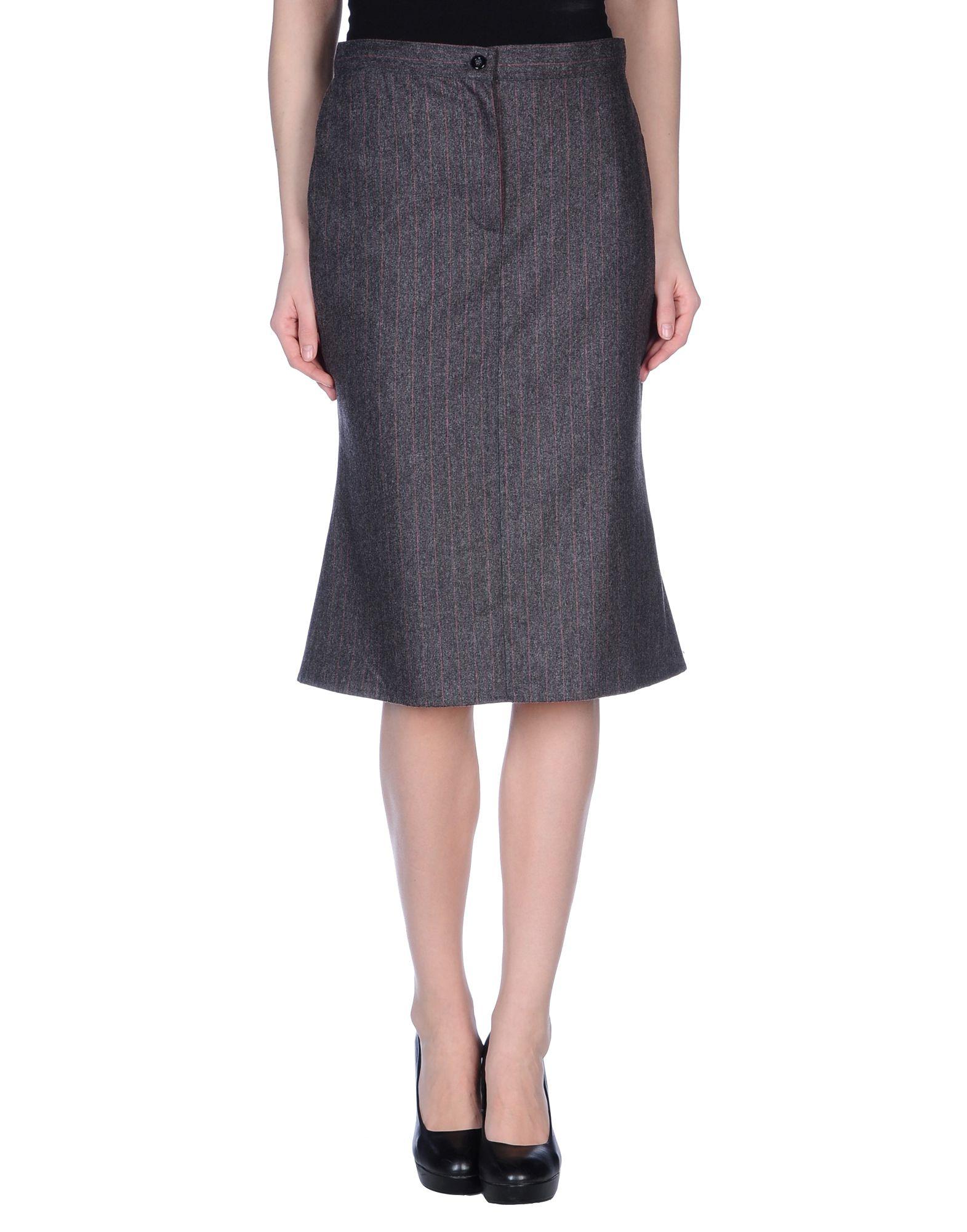 caractere knee length skirt in gray grey lyst