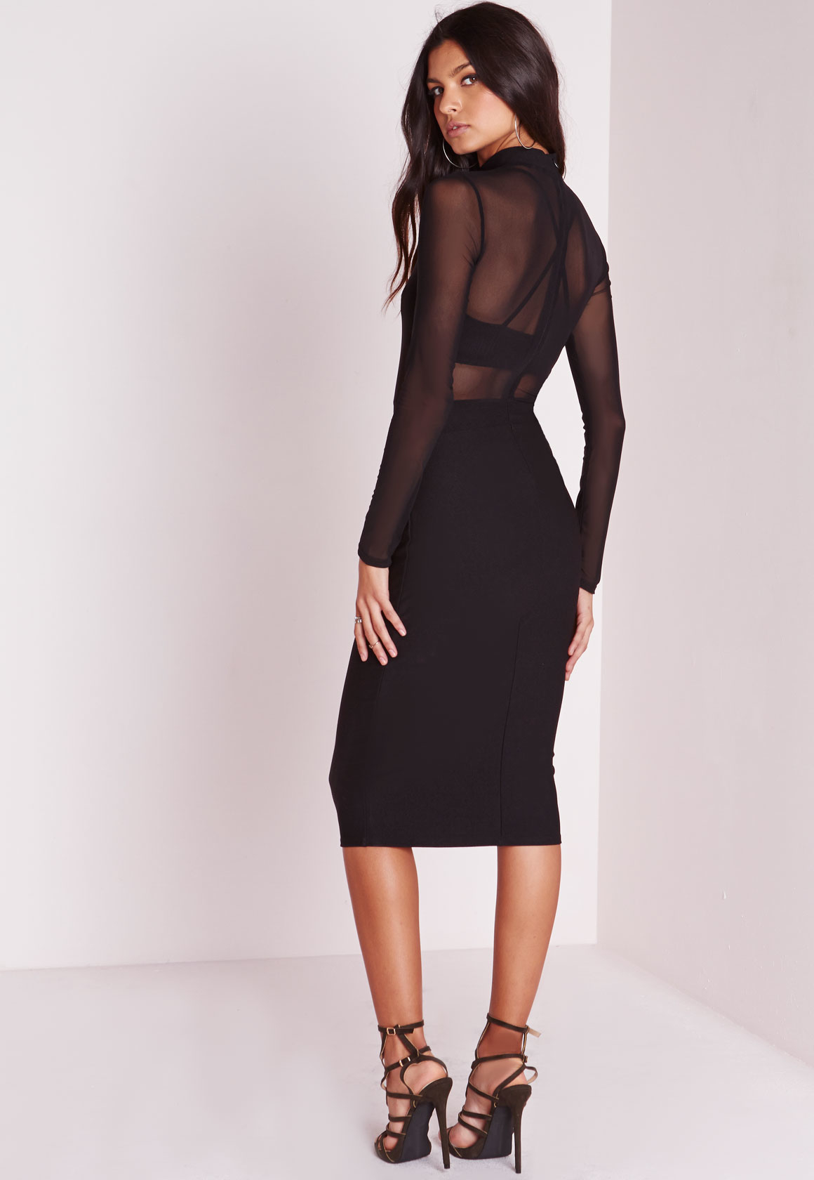 Lyst - Missguided Tall Long Sleeve Mesh Midi Dress Black ...