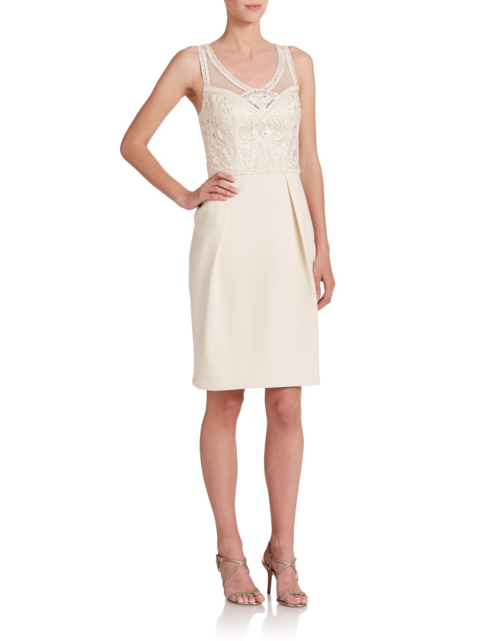 Lyst sue wong soutache embroidered dress in white