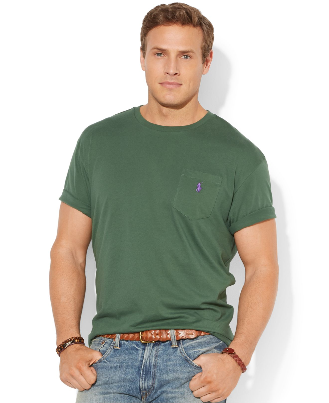 Polo ralph lauren big and tall classic fit jersey pocket for Big and tall polo shirts with pockets