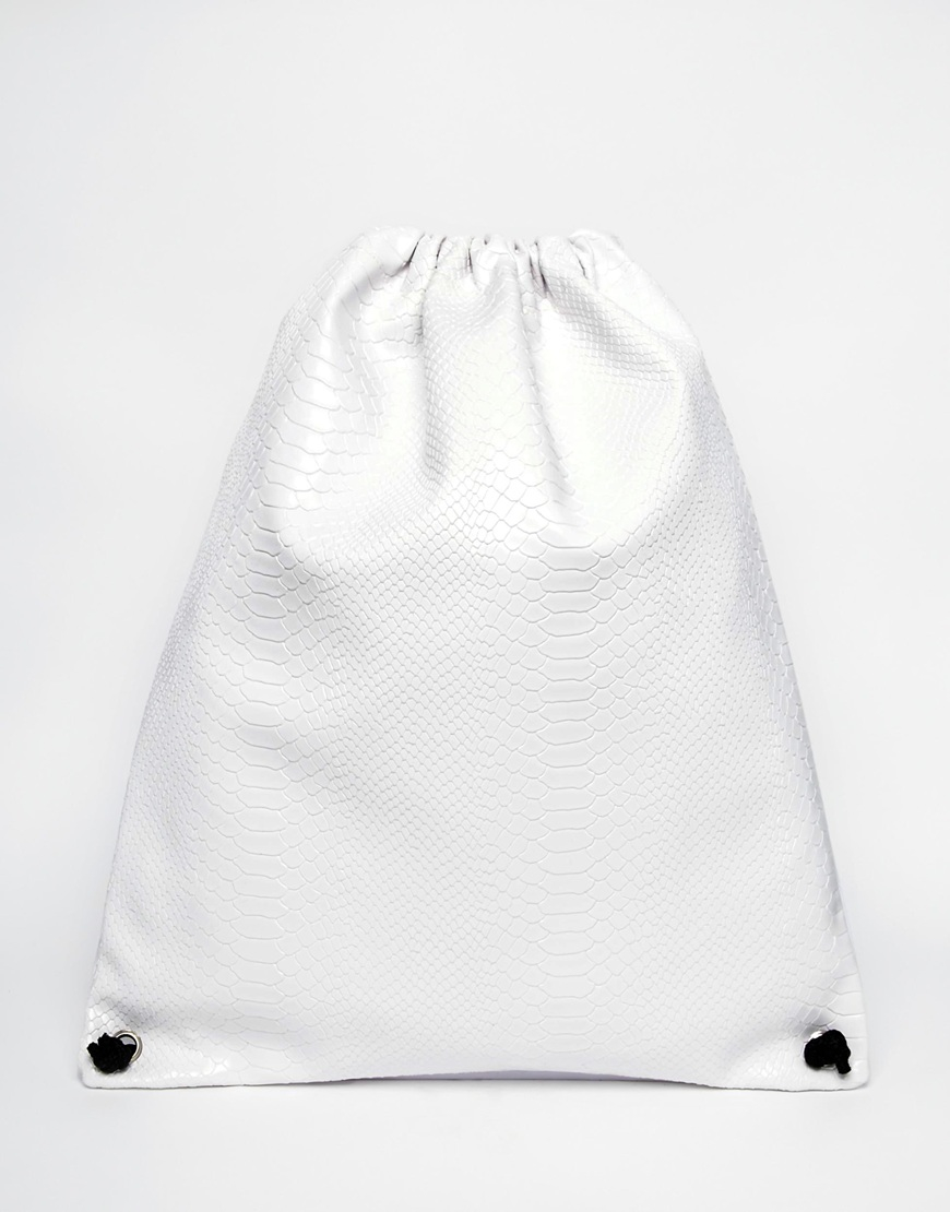 Asos Drawstring Backpack In White Faux Leather With Snakeskin ...