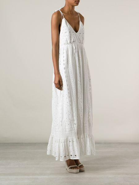 67ba8c3d77d7 Lyst - Luisa Beccaria Eyelet Maxi Dress in White