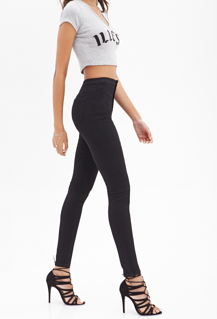 promotion popular style variety styles of 2019 Forever 21 Black High-waisted Jeggings
