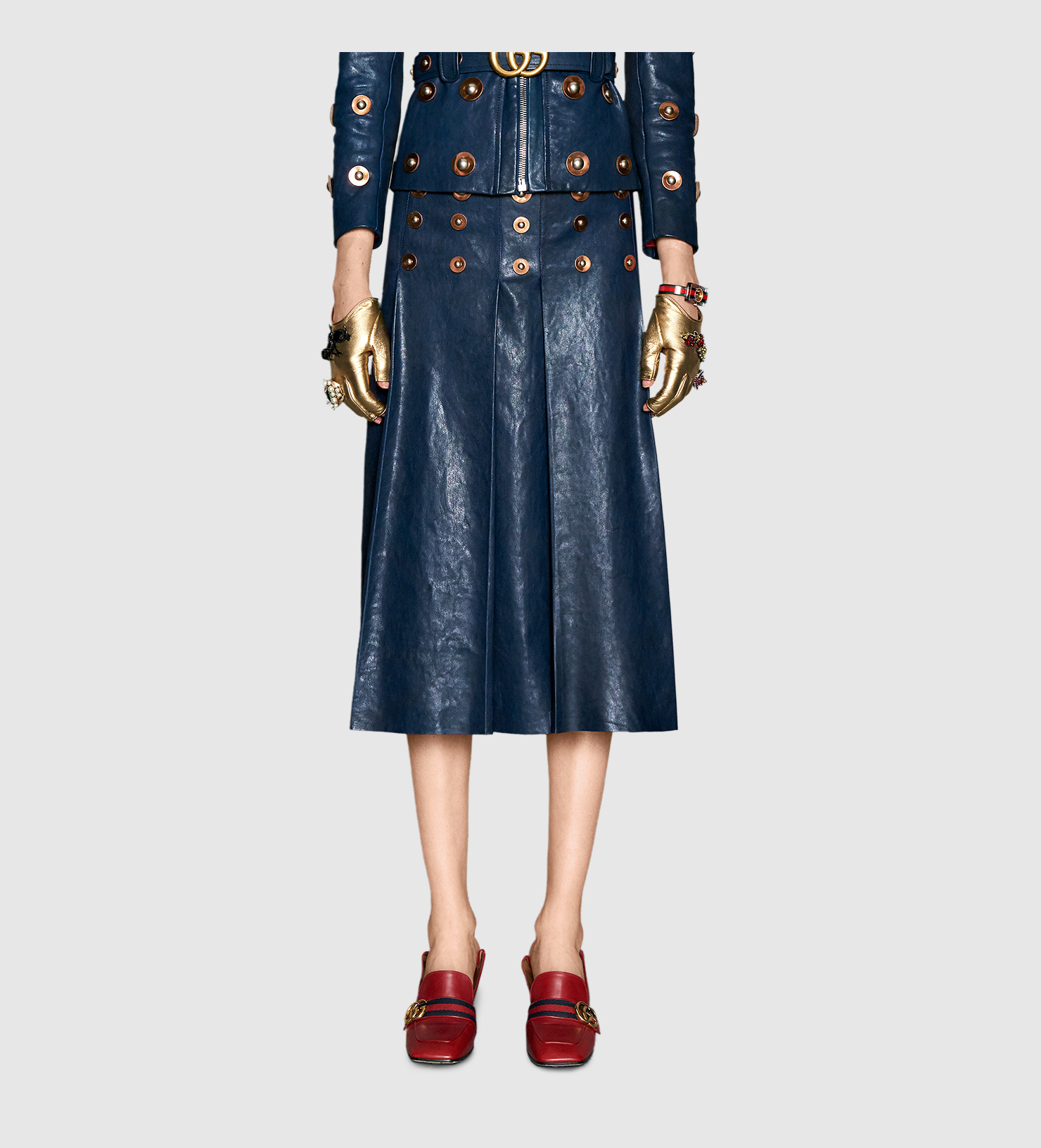 gucci studded leather skirt in blue lyst
