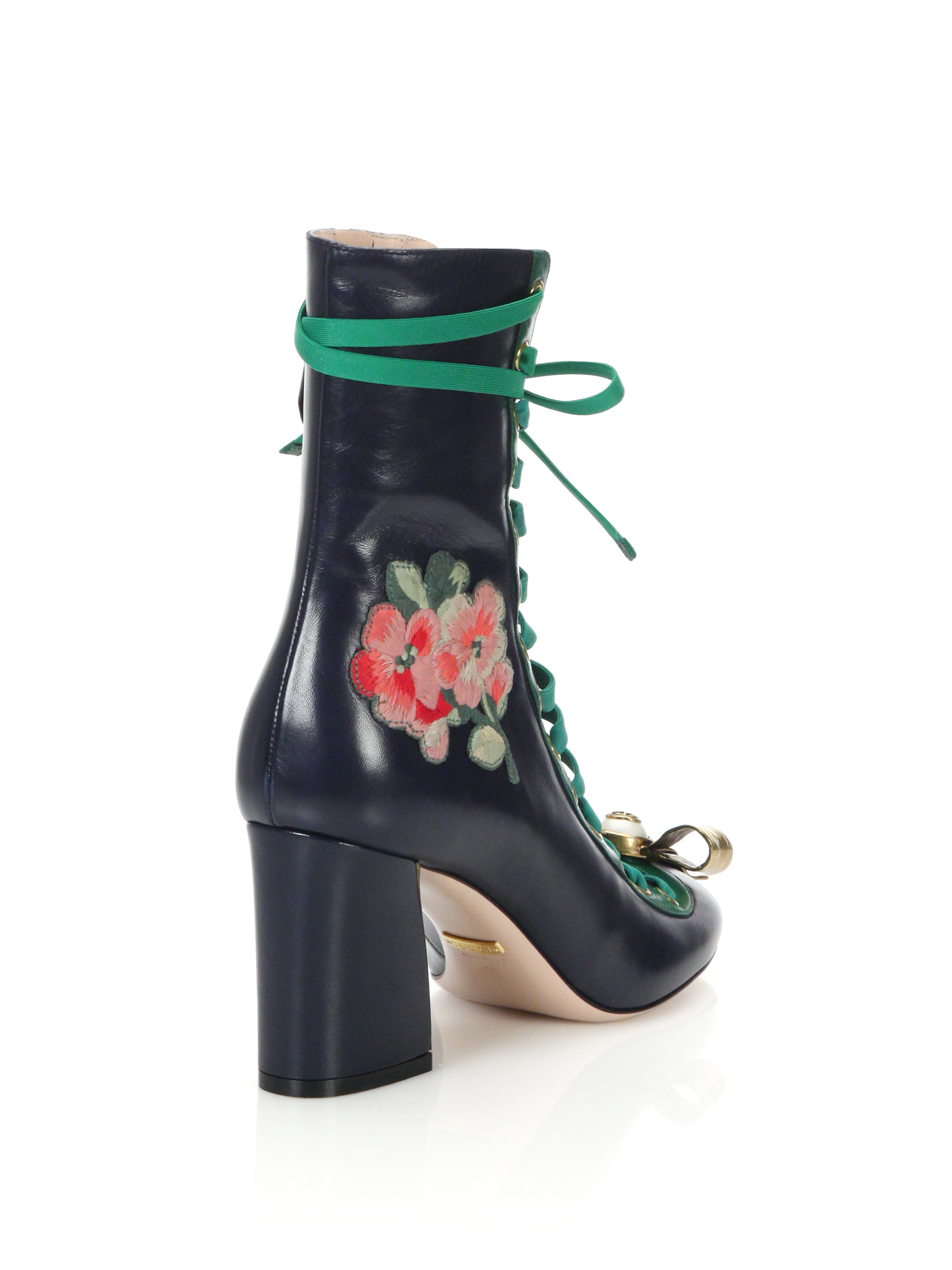 f96da4be2 Gucci Finnlay Leather Lace-up Ankle Boots - Lyst
