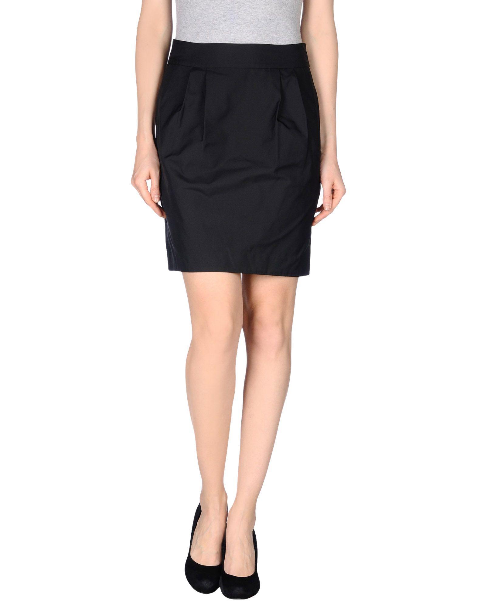 dkny knee length skirt in black lyst