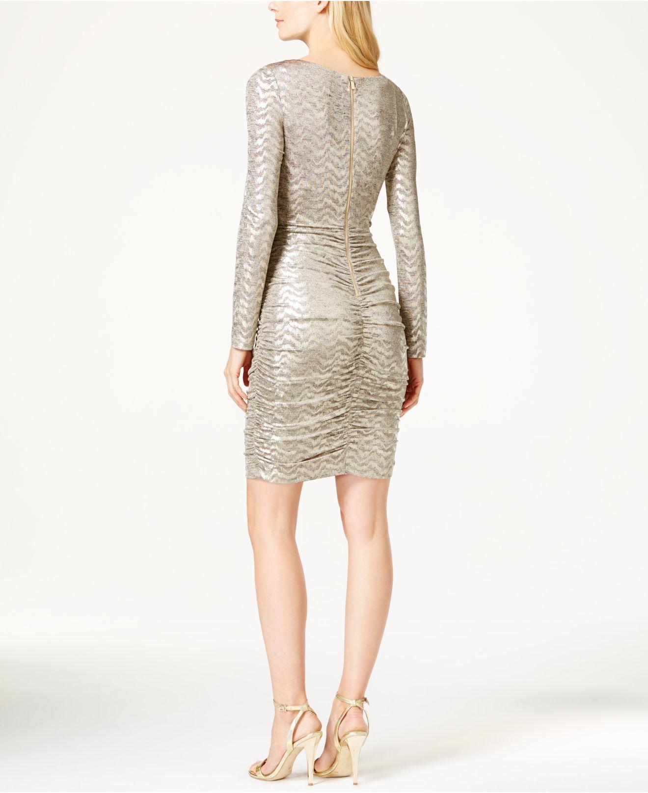 Vince camuto Metallic-knit Sheath Dress in Metallic | Lyst