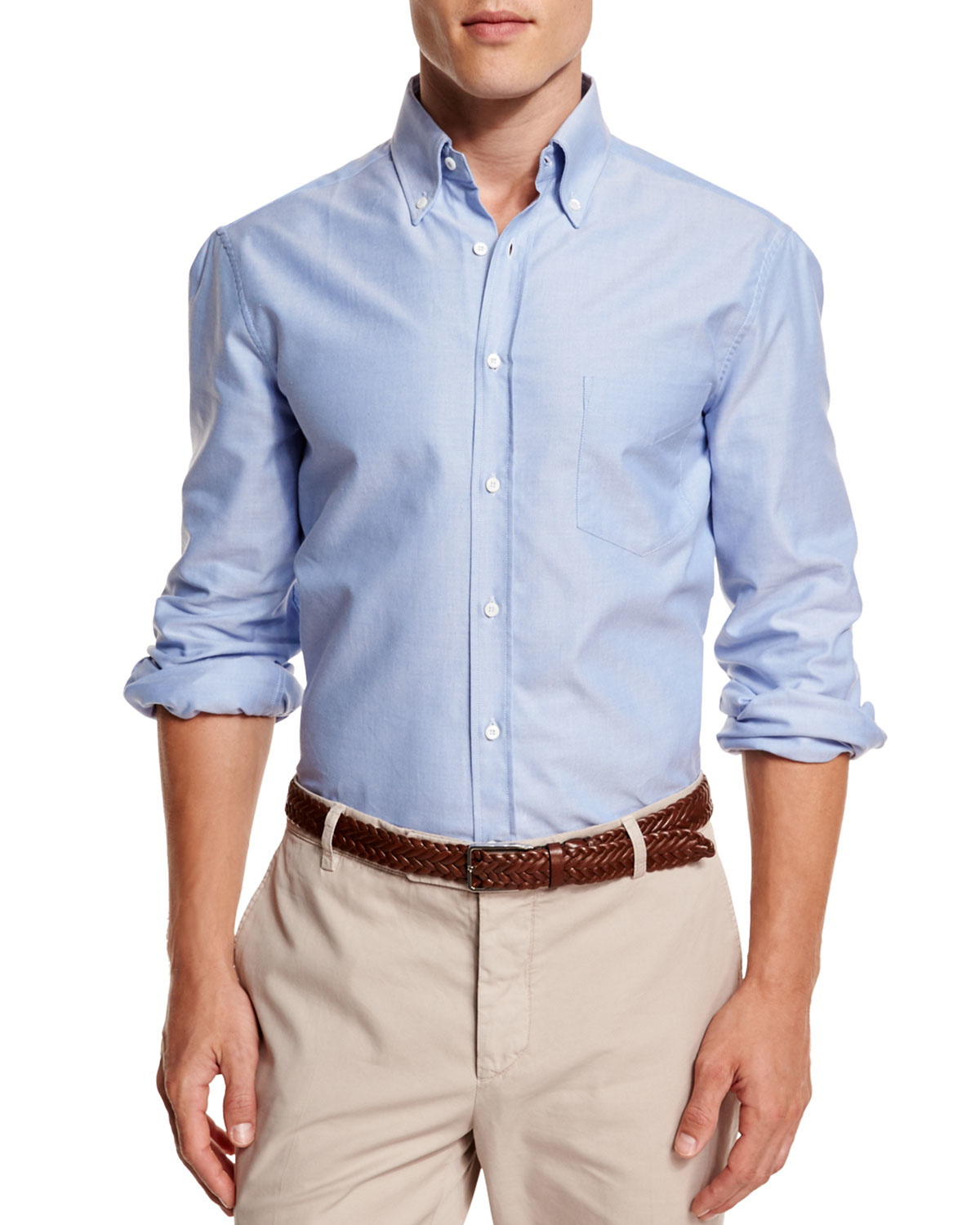 brunello cucinelli oxford button down sport shirt in blue