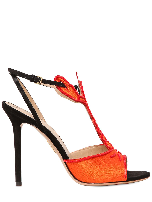 1752cf95a1210 Lyst - Charlotte Olympia 110mm Elsa Suede Silk Lobster Sandals in Black