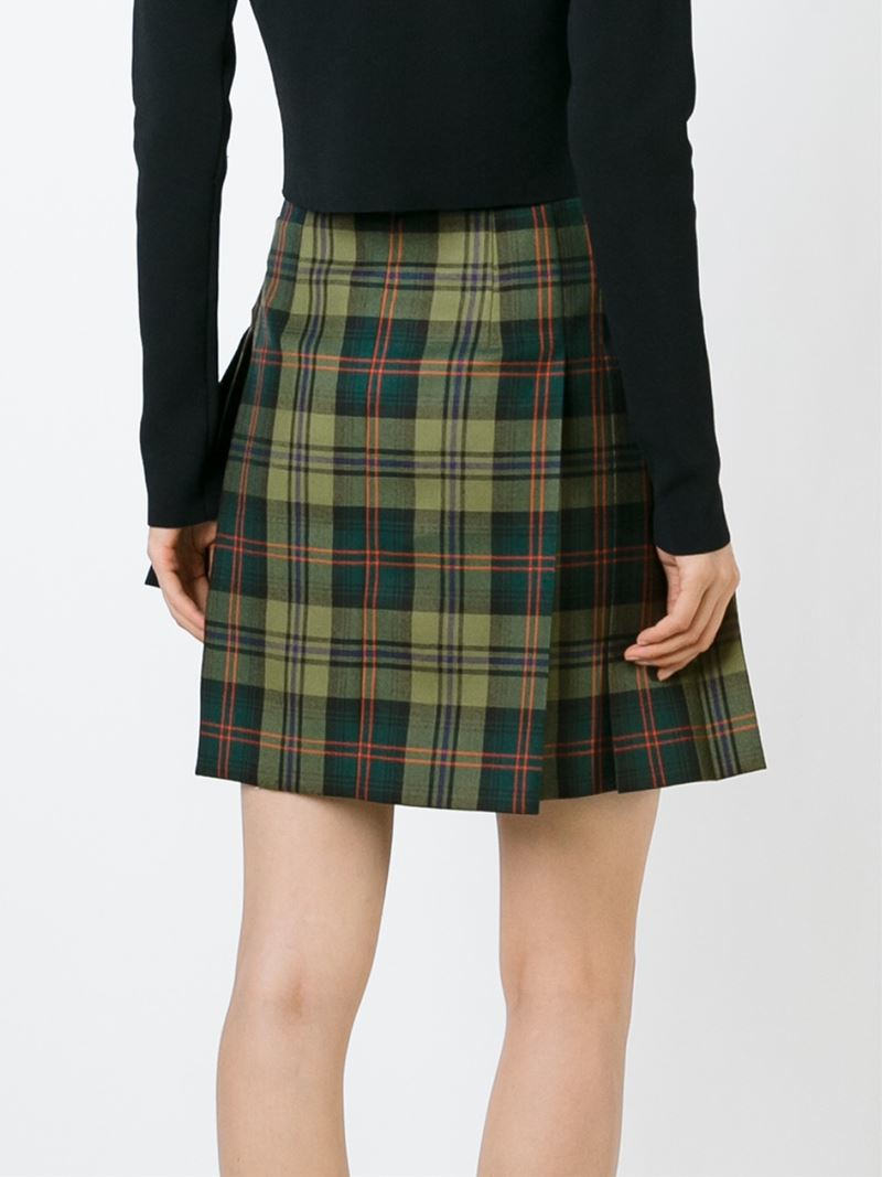 versus checked pleated mini skirt in green lyst