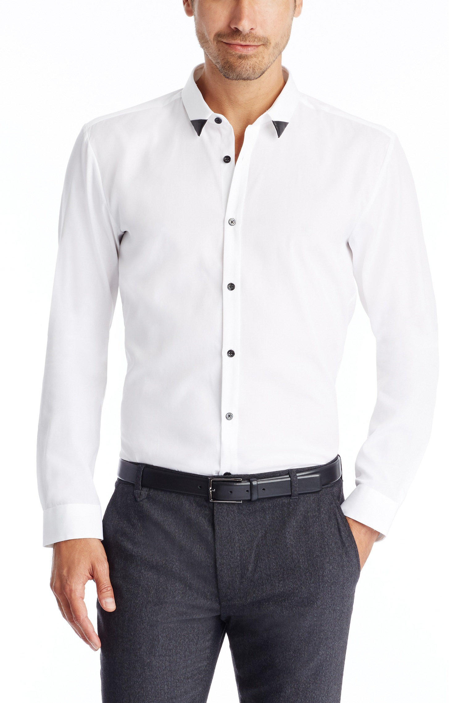 Lyst hugo ero slim fit vegan leather button down for Slim fit white button down shirt