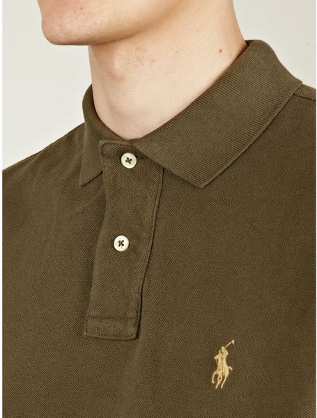 Polo Ralph Lauren Mens Olive Polo Slimfit Shirt In Green