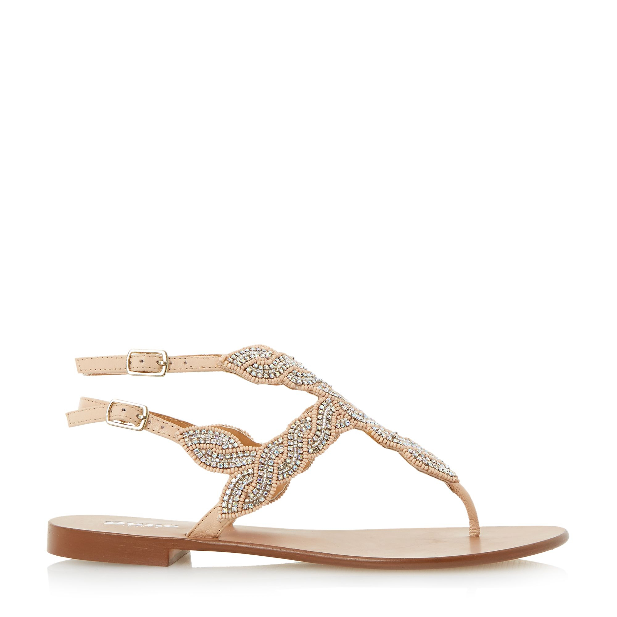 dune karper leather beaded toe post sandals in lyst