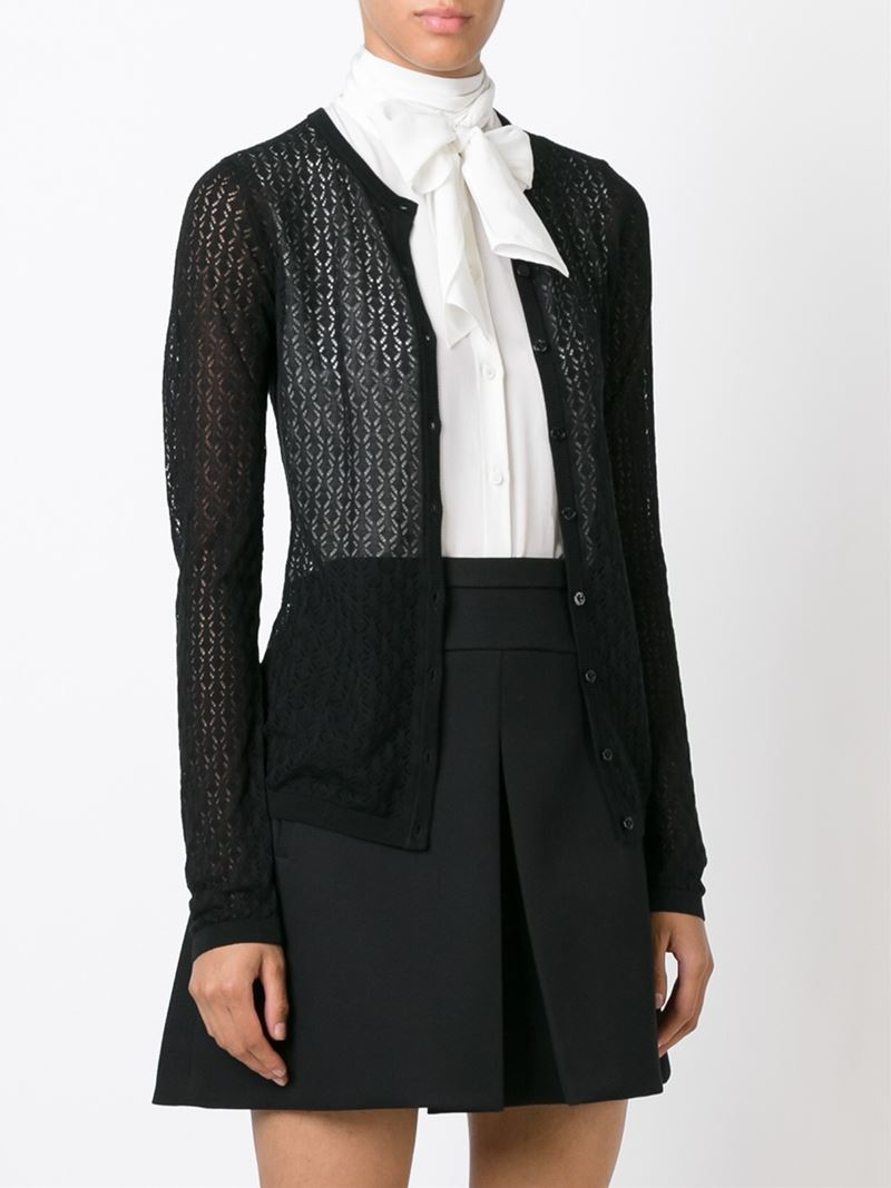 Dolce & gabbana Lace Knit Cardigan in Black | Lyst
