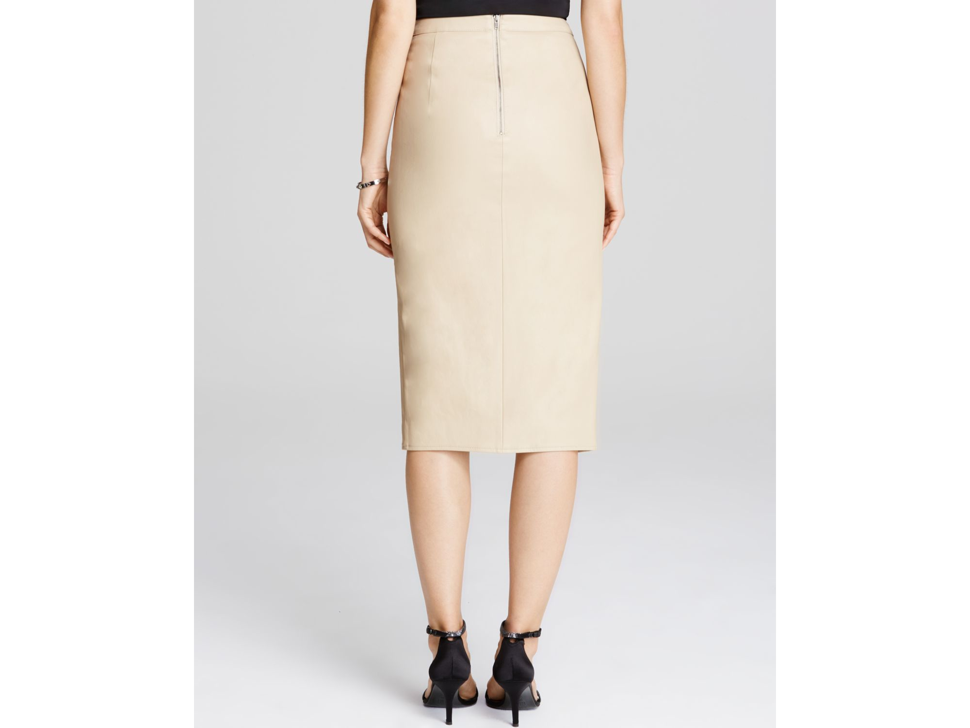 Bardot Faux Leather Side Slit Pencil Skirt in Natural | Lyst
