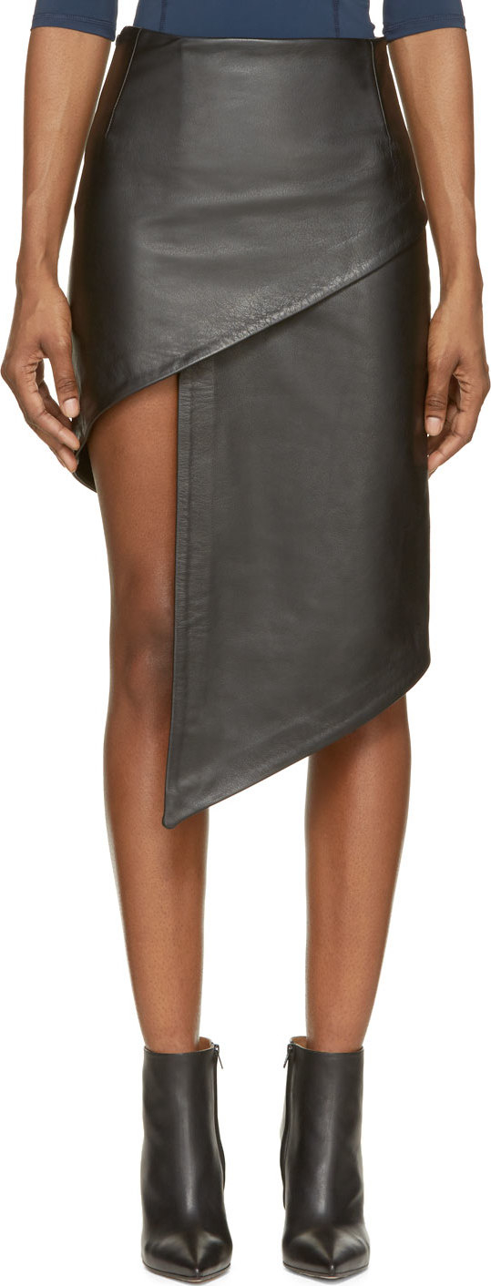 Vetements Black Leather Asymmetric Skirt in Black | Lyst