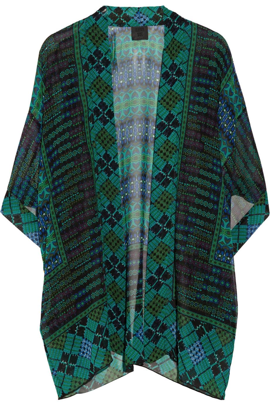 Anna Sui Printed Silk Georgette Kimono Style Jacket In