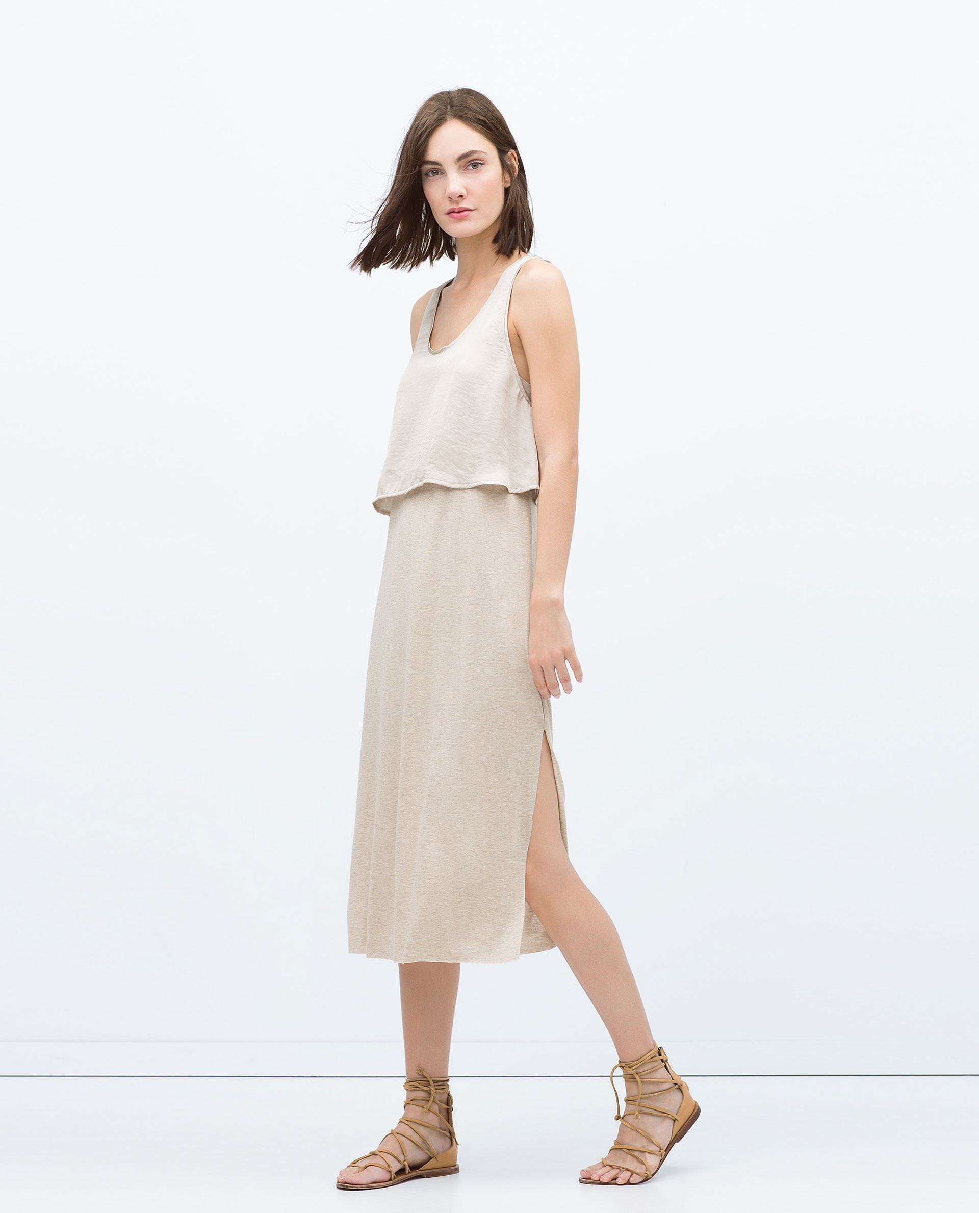 Zara Long Double Layer Dress In Beige Sand Marl Lyst