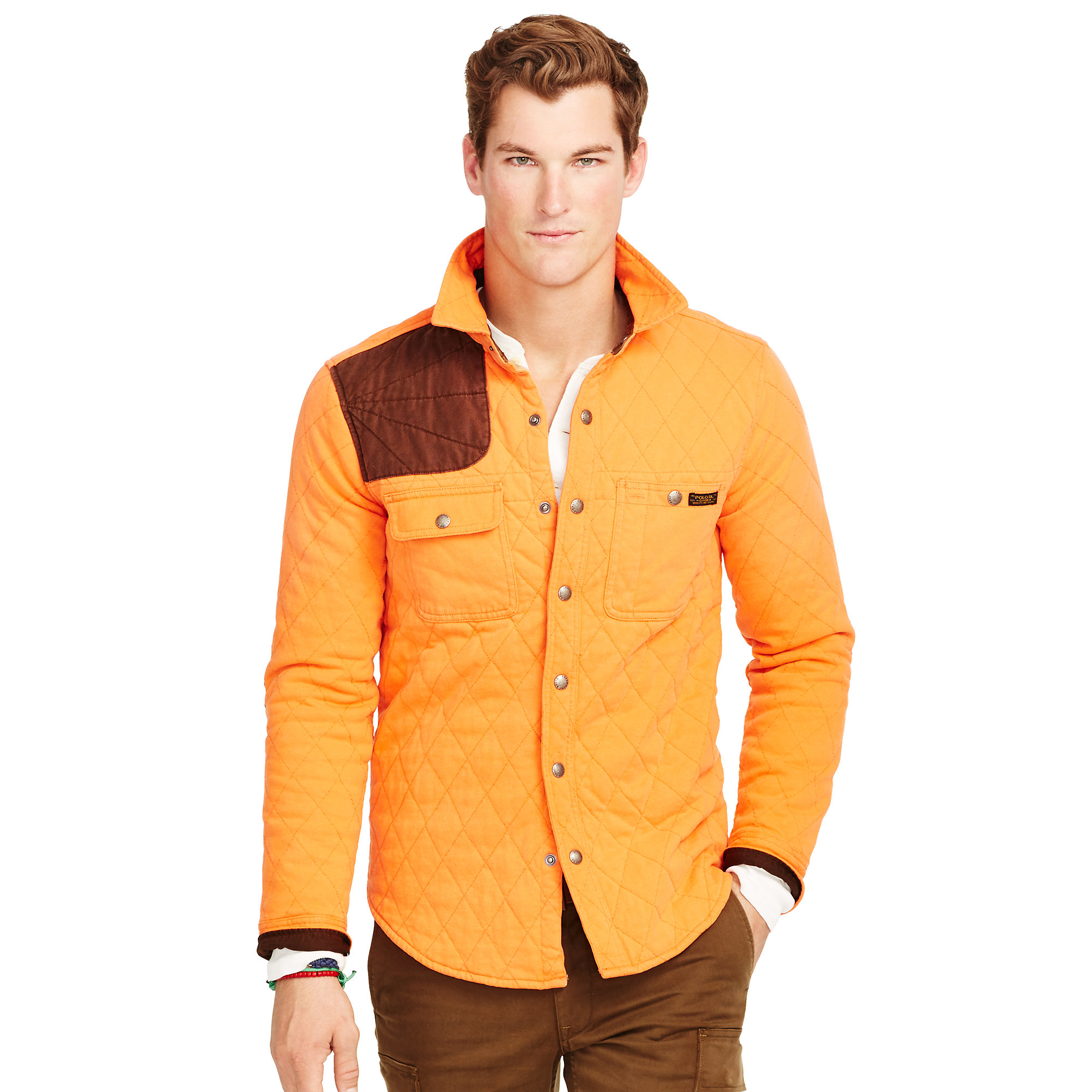 Lyst polo ralph lauren quilted utility shirt jacket in for Polo shirt with jacket