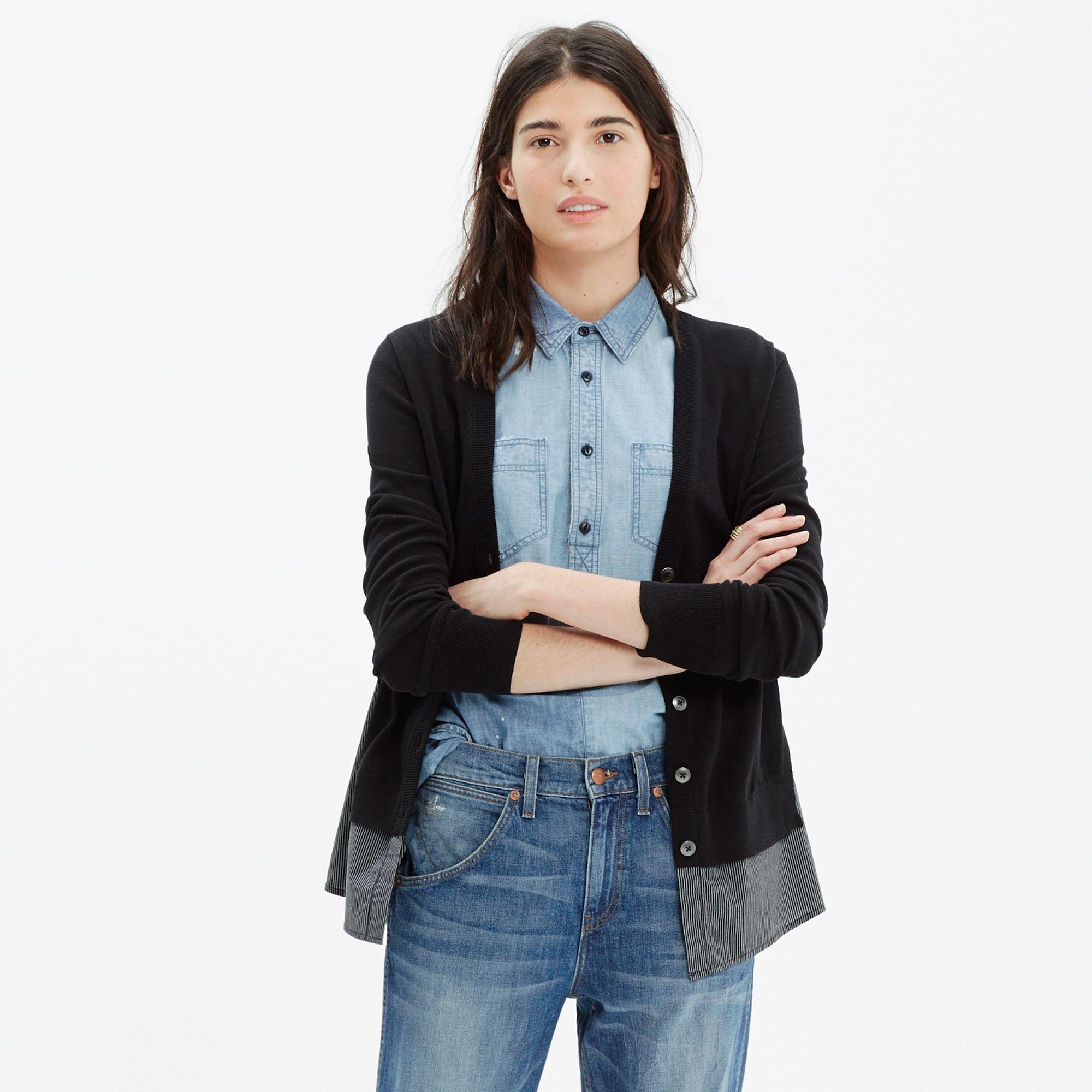 Madewell Shirting Cardigan Sweater in Black | Lyst