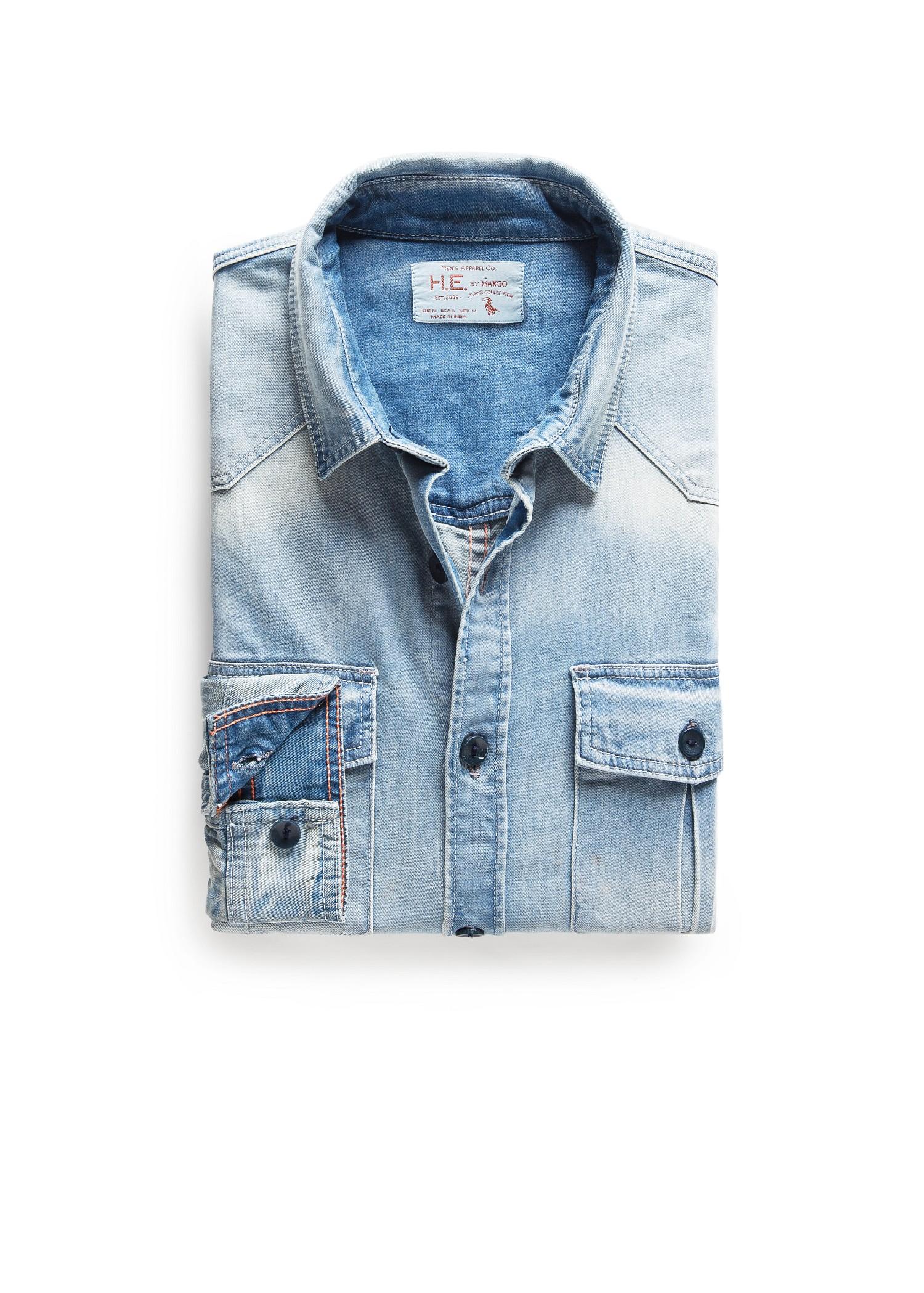 Mango Classicfit Light Denim Shirt In Blue For Men Lyst