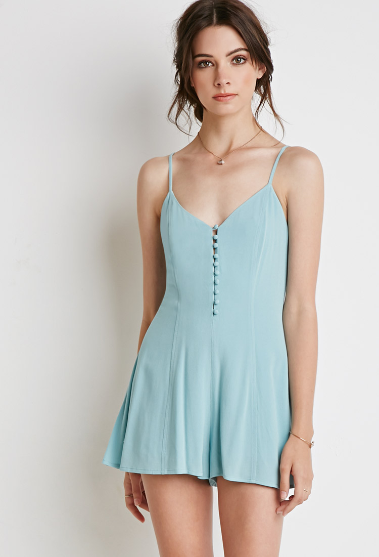Lyst - Forever 21 Buttoned-front Romper in Green