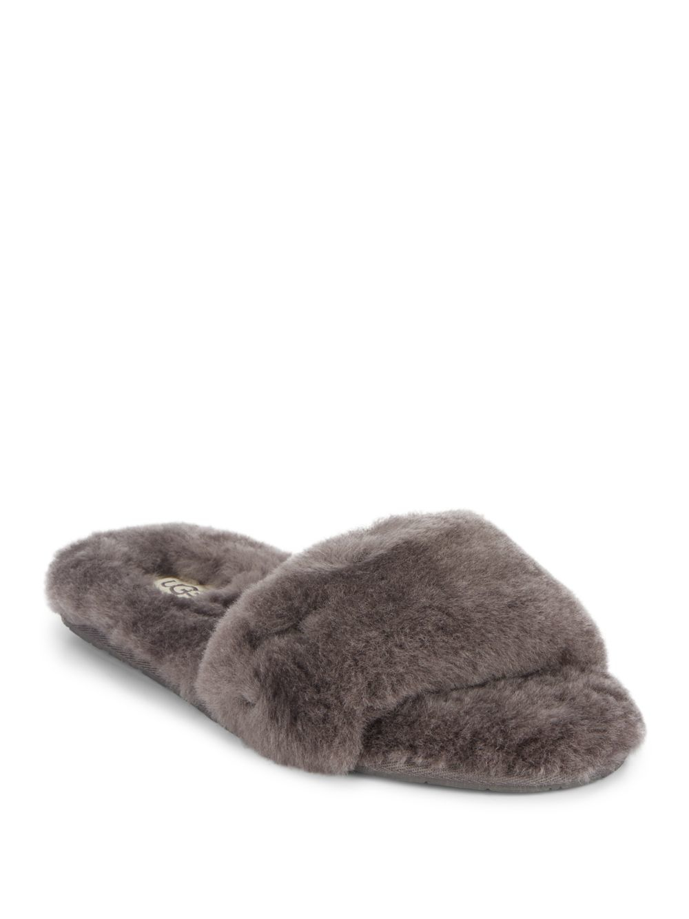 Lyst Ugg Fluff Shearling Slides In Gray