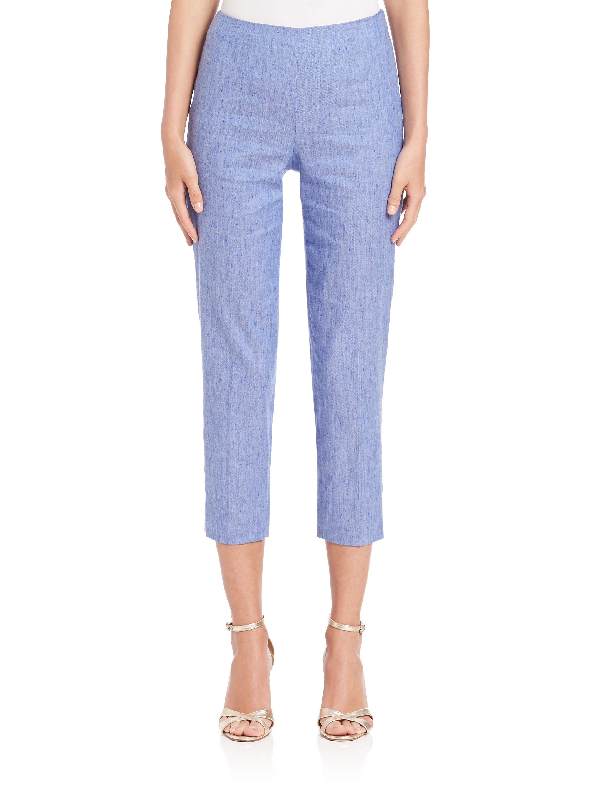 Piazza sempione chambray audrey pants in blue blue white for Chambray jeans
