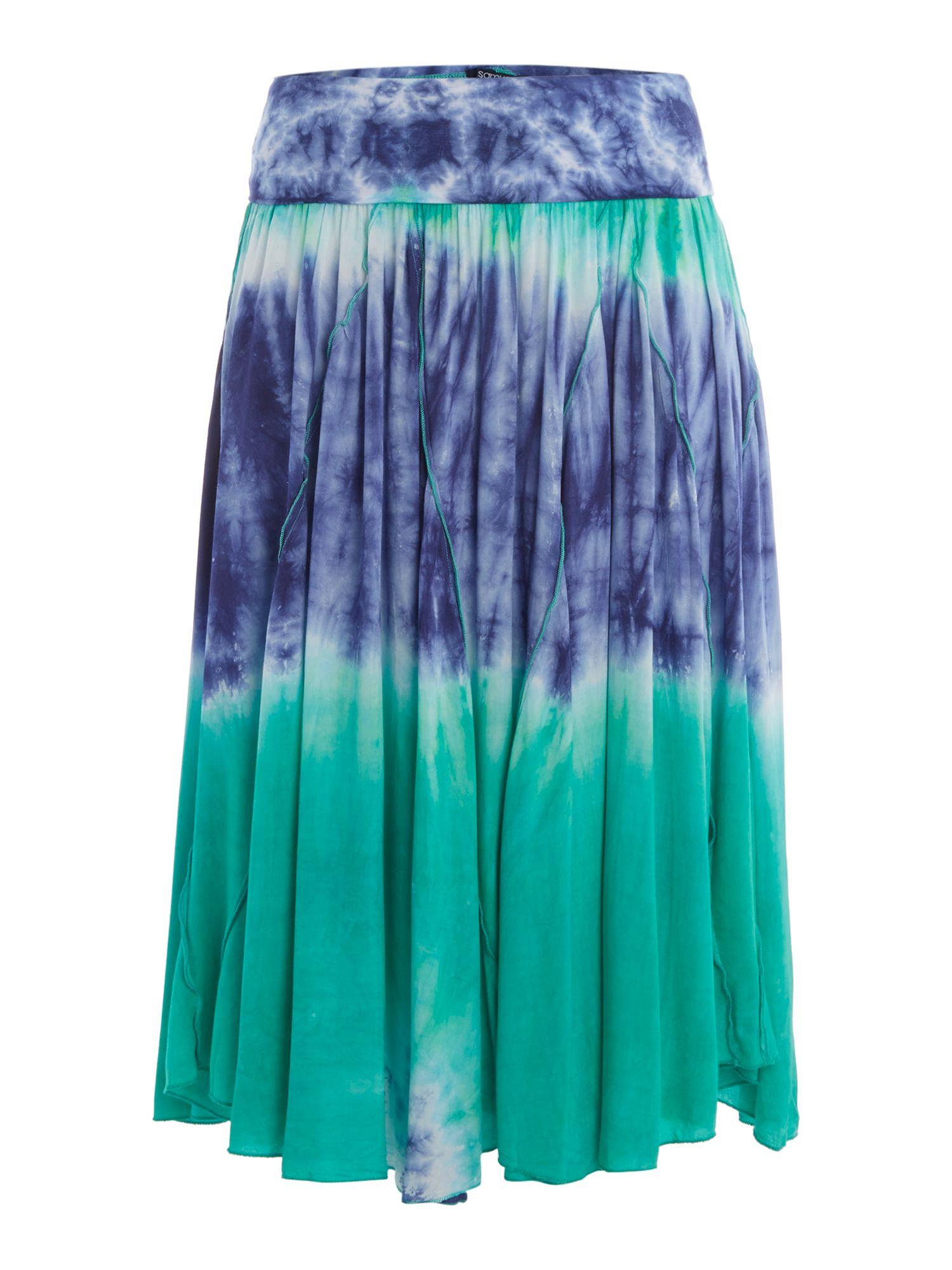 samya tie dye handkerchief skirt with fold in blue lyst