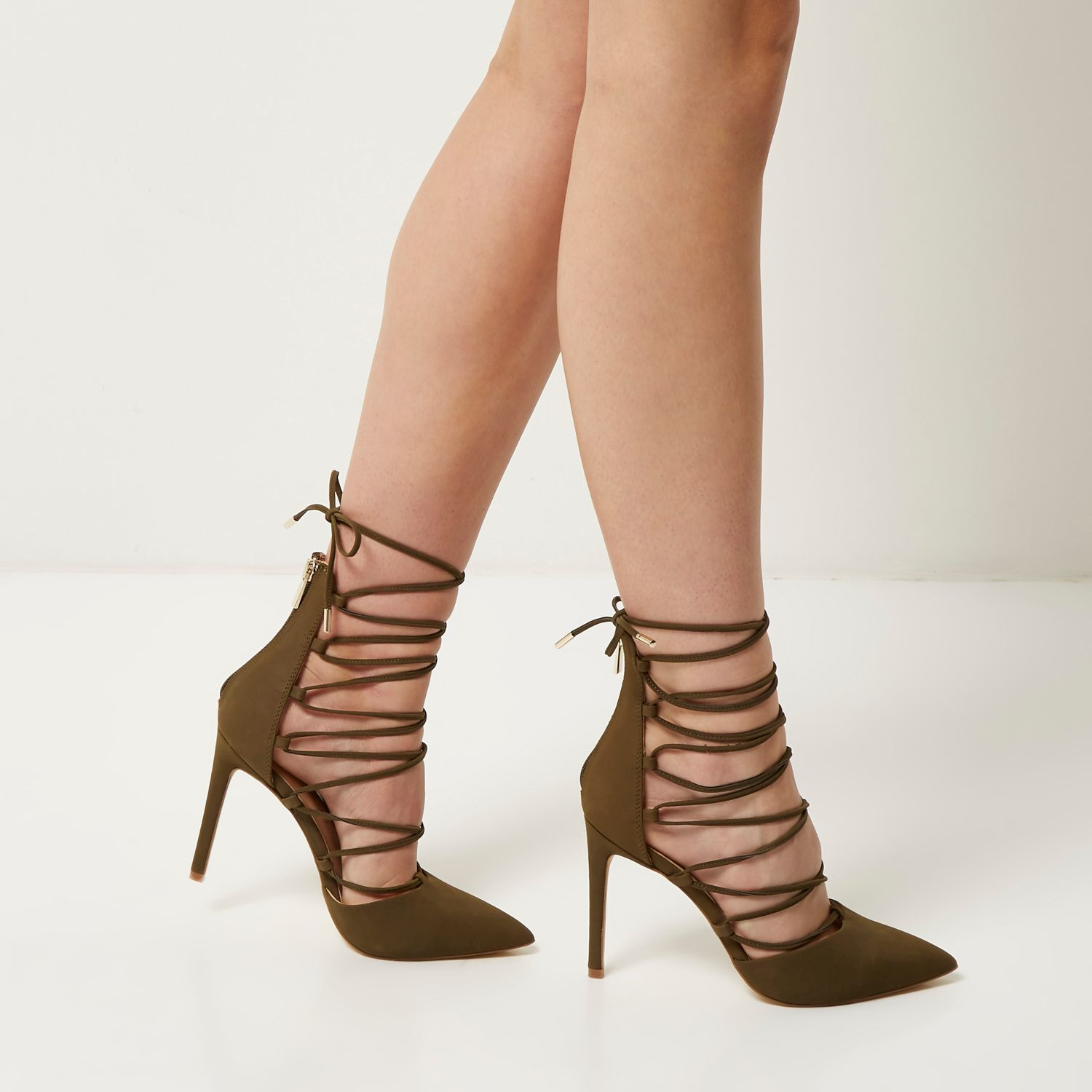 5d85dd0e9 Lyst - River Island Khaki Suede Lace Up Court Heels in Natural