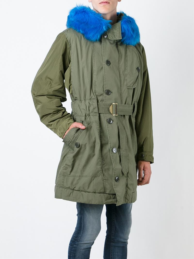Diesel Fur Trimmed Parka in Green for Men | Lyst