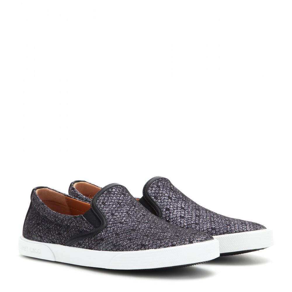 7567f25b5e38 Lyst - Jimmy Choo Demi Glitter Slip-on Sneakers in Gray