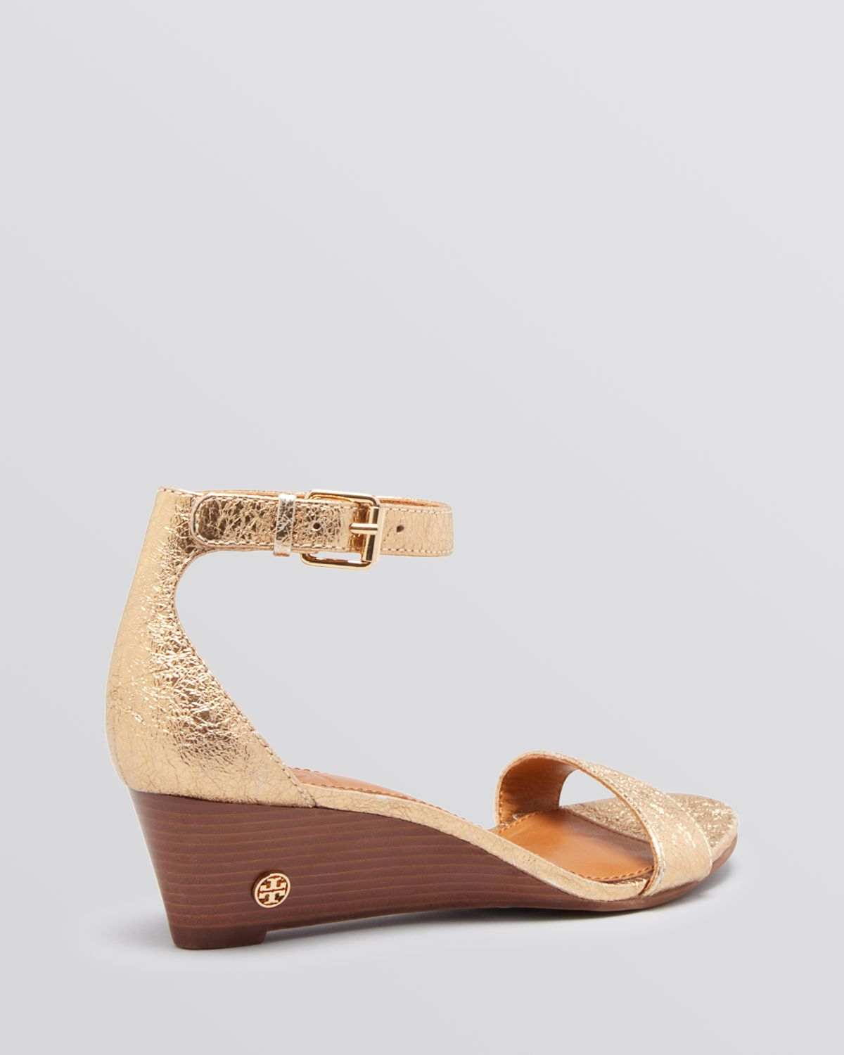 1c0d9d5be83c4 Tory Burch Open Toe Wedge Sandals Savannah in Metallic - Lyst