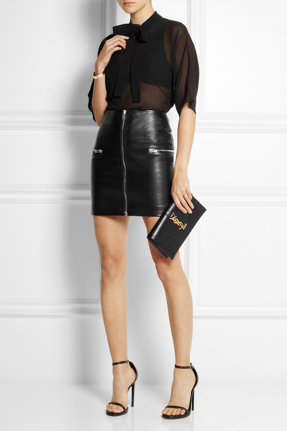 Saint laurent Zip-Trimmed Leather Mini Skirt in Black | Lyst
