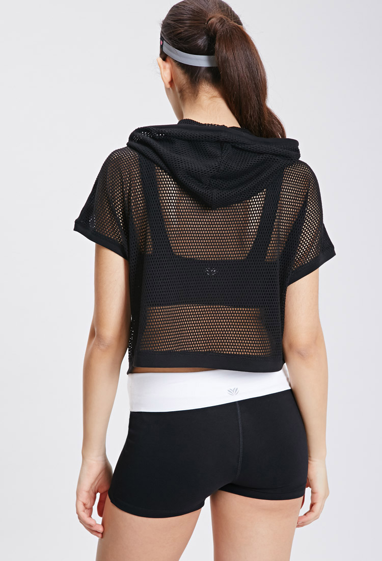 Forever 21 Active Mesh Pullover Hoodie In Black Lyst