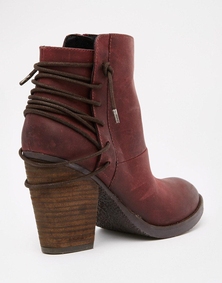 Steve madden Raglyn Wine Leather Lace Back Heeled Ankle Boots in ...