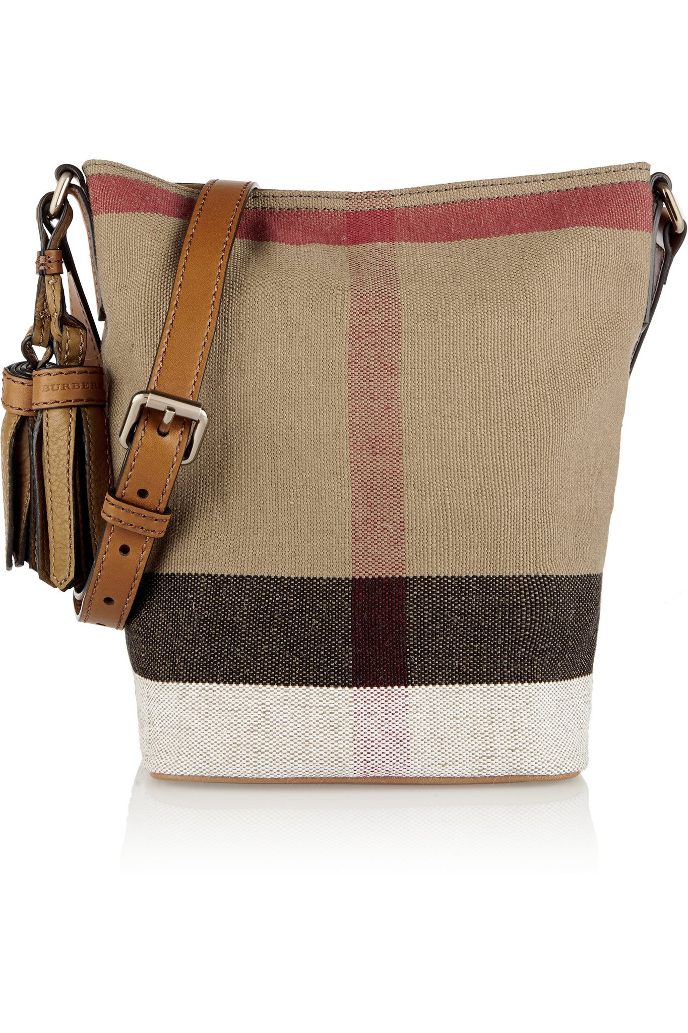 Burberry Mini Leather-trimmed Checked Canvas Shoulder Bag in Brown ... 4a9ba72d0882a