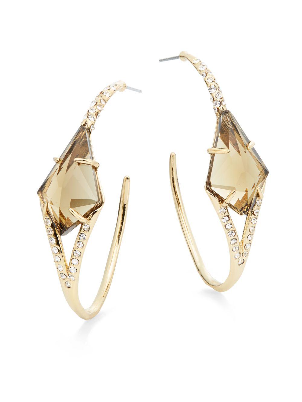Alexis Bittar Crystal & Pyrite Hoop Earrings z7B4osL