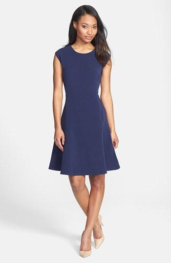 Halogen Ottoman Knit Fit & Flare Dress in Blue (navy ...