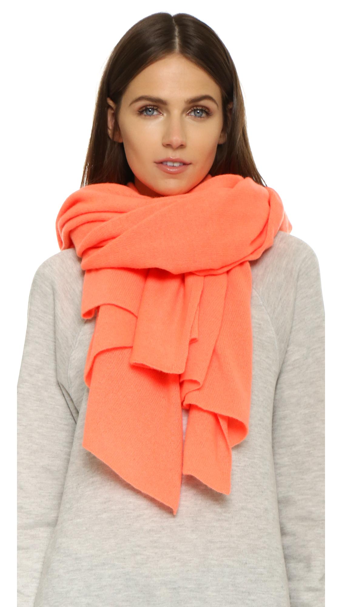 White + warren Cashmere Travel Wrap Scarf in Orange | Lyst