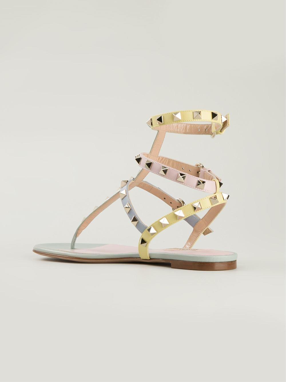 Valentino Rockstud Sandals In Multicolor Multicolour Lyst